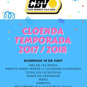 Cloenda temporada 2017/2018